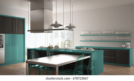 Minimalistic modern kitchen with table, chairs and parquet floor, gray and turquoise interior design, 3d illustration
