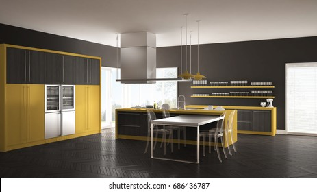 Minimalistic modern kitchen with table, chairs and parquet floor, gray and yellow interior design, 3d illustration