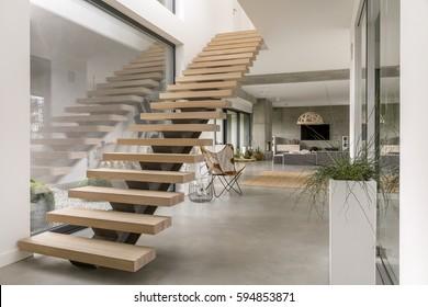 Minimalistic stairs in modern villa interior