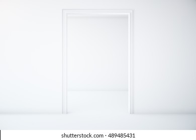 Minimalistic white interior with doorway. 3D Rendering