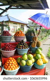 Minimarket in the old village on the Bali. Variety of fruits in Indonesia. Travel around Asia.