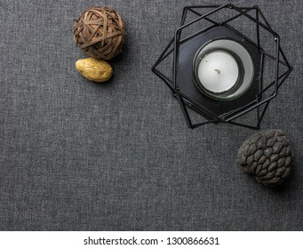 minimlal background. with minimal props and candle holder. copy space available