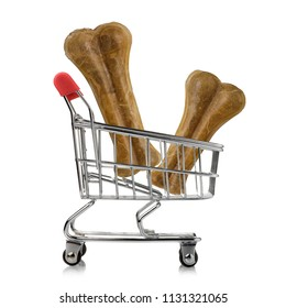 Minimum consumer basket: trolley with bone isolated on white background