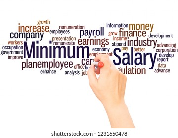 Minimum salary word cloud hand writing concept on white background.