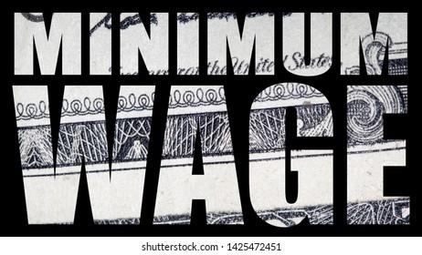 Minimum Wage, United States of America Money, Black Background