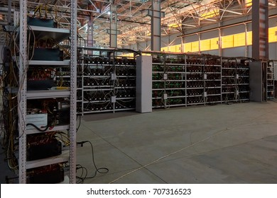 Mining. bitcoin farm. working computer equipment. Russia, Moscow.