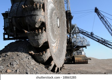 Mining equipment; closeup of a bucketwheel reclaimer, used at oil sands mines in Alberta, Canada