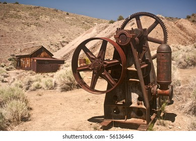 Mining Equipment and mining shack from Berlin Ghost Town near Reno, Nevada- Berlin Ichthyosaur State Park
