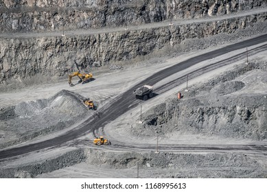 Mining of iron ore in a huge quarry