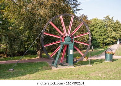 Mining monument in the spa park of Bad Salzdetfurth, Lower Saxony, Germany