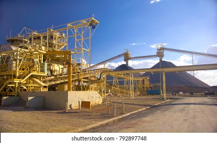 mining plant and pile, the ore is crushed by large sag mills and turned in to powder before exported overseas.