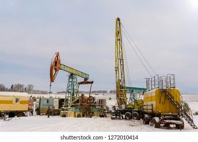 Mining and quarrying. Installations for the extraction of oil from the bowels of the Earth. Pumpjack is the overground drive for a reciprocating piston pump in an oil well.
