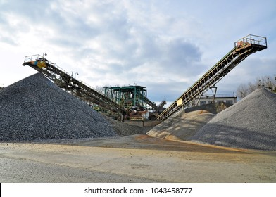 Mining site conveyors of gravel in a quarry