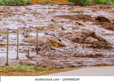 Mining tailings after dam collapse in Brumadinho