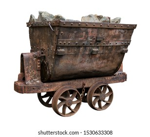 Mining Trolley Loaded With Rock.