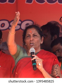 Minister of Defence, Government of India and Bharatiya Janta Party leader Nirmala Sitharaman addresses an election campaign to supporter BJP South Kolkata candidate on May 07, 2019 in Kolkata, India.
