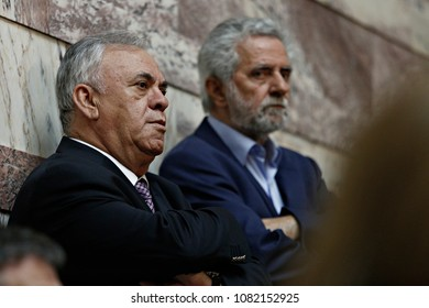 Minister of Economy Yannis Dragasakis listens the speech of Greek Prime Minister Alexis Tsipras in the Parliamentary Group of SYRIZA in Parliament, Athens, Greece on October 3, 2015