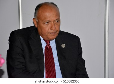 Minister of Foreign Affairs of Egypt Sameh Hassan Shoukry at the 17th Summit of the Non-Aligned Movement in Porlamar, Margarita Island, Venezuela on September 17, 2016.