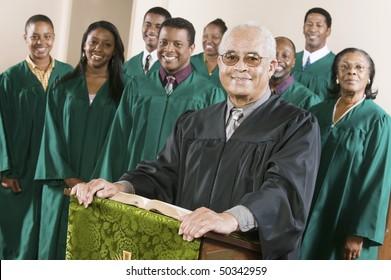 Minister at podium with Gospel Choir, portrait
