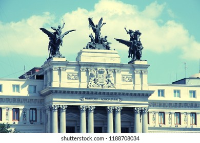 Ministry of Agriculture, Fisheries and Food of Spain headquarters, Madrid. Famous sculpture - Glory and the Pegasi.