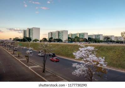 Ministry buildings at Esplanade of the Ministeries (Esplanada dos Ministerios) at sunset - government departments offices - Brasilia, Distrito Federal, Brazil