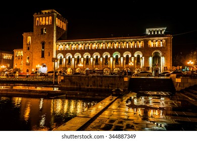 Ministry of Foreign Affairs of Armenia on Republic square at night, Yerevan, Armenia