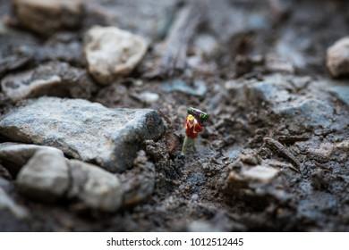 Miniture figure. A traveller Trekking Adventure with mud