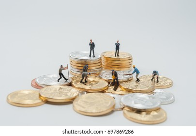 miniture labor mining bitcoins by business man is a owner