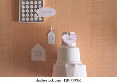 miniture of wedding cake
