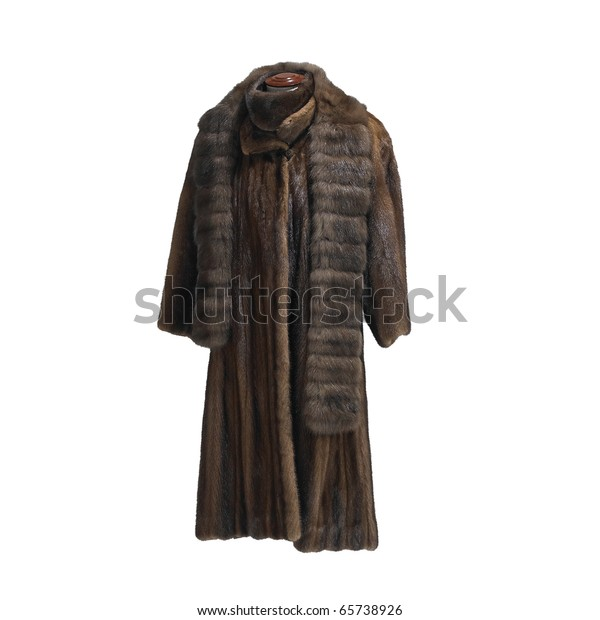 mink coat and stole isolated on white