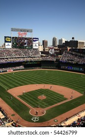 MINNEAPOLIS - APRIL 22: Brand new Target Field, home of the Minnesota Twins, a ballpark that returns outdoor baseball to the city, on April 22, 2010 in Minneapolis, Minnesota.
