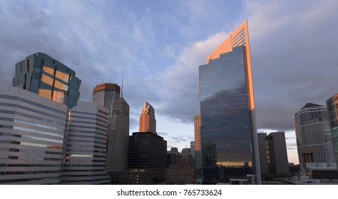 Minneapolis city skyline at sunset