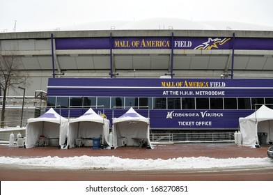 MINNEAPOLIS - DECEMBER 21:  The Mall of America Field, as seen on December 21, 2013, in Minneapolis.  The stadium is scheduled to be torn down in the beginning of 2014.