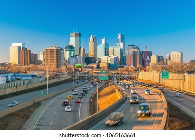 Minneapolis downtown skyline in Minnesota, USA at sunset