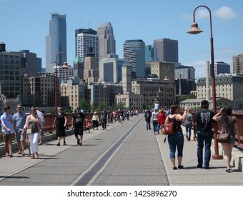 MINNEAPOLIS- JUNE 16:  The Stone Arch Bridge, as seen on June 16, 2019, in Minneapolis, MN.  The Stone Arch Bridge crosses the Mississippi River in downtown Minneapolis.