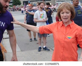 MINNEAPOLIS- JUNE 24, 2018:  United States Senator Tina Smith of Minnesota marching in the Twin Cities Pride Parade, on June 24, 2018.