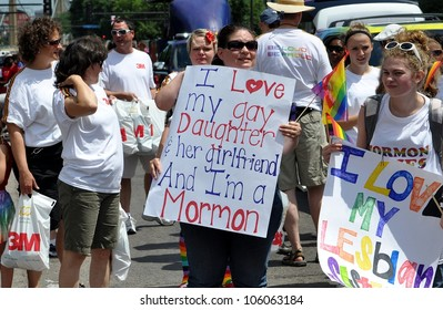 MINNEAPOLIS - JUNE 24:  A Mormon Mother proclaims love for her Gay Daughter at the Twin Cities Gay Pride Parade on June 24, 2012, in Minneapolis.