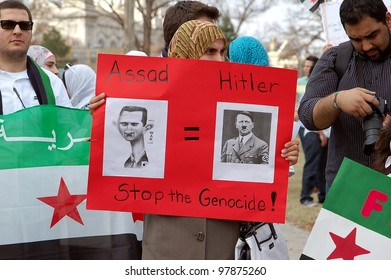 MINNEAPOLIS - MARCH 17:  An Unidentified Participant at a global demonstration to mark the first year of the Syrian Revolution, on March 17, 2102 in Minneapolis.