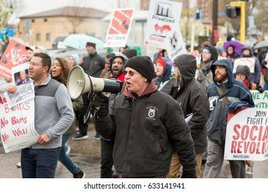 MINNEAPOLIS - MAY 1, 2017: Marchers gather to celebrate International Workers Day on May 1, 2017 in Minneapolis.