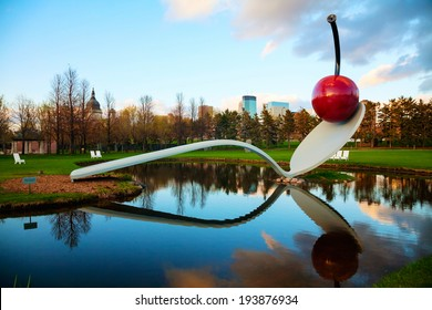 MINNEAPOLIS - MAY 14: The Spoonbridge and Cherry at the Minneapolis Sculpture Garden on May 14, 2014 in Minneapolis, MN. It is one of the largest urban sculpture gardens in the country.
