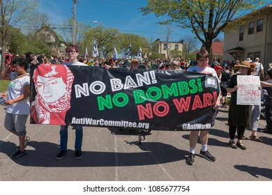 MINNEAPOLIS - May 6, 2018: Anti-war protesters march in Minneapolis'? yearly May Day parade, organized by In the Heart of the Beast Puppet and Mask Theatre.