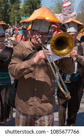 MINNEAPOLIS - May 6, 2018: People partake in Minneapolis' yearly May Day parade. Organized by In the Heart of the Beast Puppet and Mask Theatre.