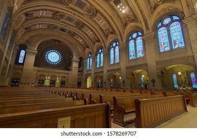 Minneapolis, Minnesota - December 3, 2019: Interior views of the Basilica of Saint Mary.