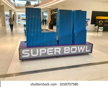 Minneapolis Minnesota - Feb 2018: Superbowl 52 sign in the Mall of America lobby. Home of championship football game end of sport season