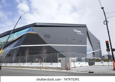 MINNEAPOLIS, MINNESOTA - MARCH 28, 2016:  US Bank Stadium - just finishing construction, hosting the NFL Super Bowl LII or 52 on February 4, 2018. Home of the Minnesota Vikings Football Team.