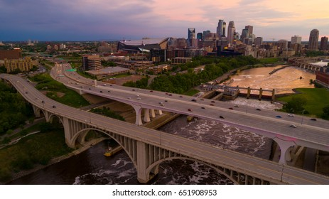 Minneapolis Minnesota over the 35W and 3rd Avenue Bridges