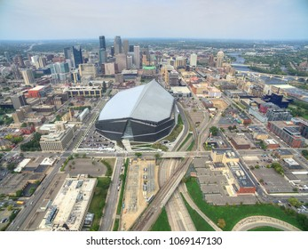 Minneapolis, Minnesota Skyline seen from above by Drone in Spring