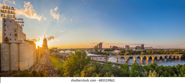 Minneapolis Minnesota at sunset on the Mississippi river, July 23, 2017,