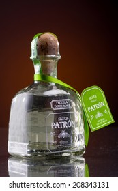 MINNEAPOLIS MINNESOTA, UNITED STATES OF AMERICA - JULY 2014: Patron Silver Tequila. Patron is a famous alcoholic drink served in numerous beverages