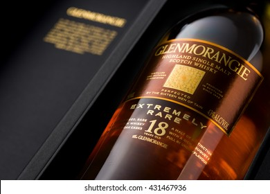 MINNEAPOLIS MINNESOTA, UNITED STATES OF AMERICA - June 2016: Glenmorangie 18 Year Scotch Whisky. Glenmorange is a Famous Alcoholic Drink